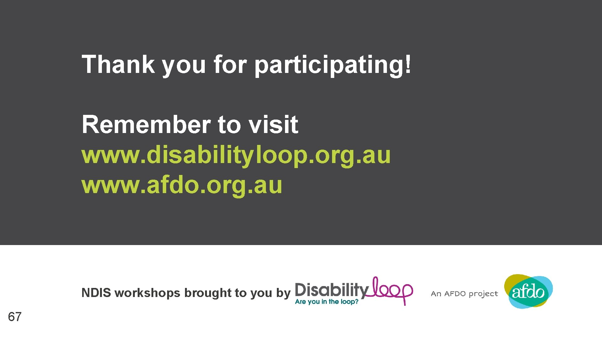 Thank you for participating! Remember to visit www. disabilityloop. org. au www. afdo. org.