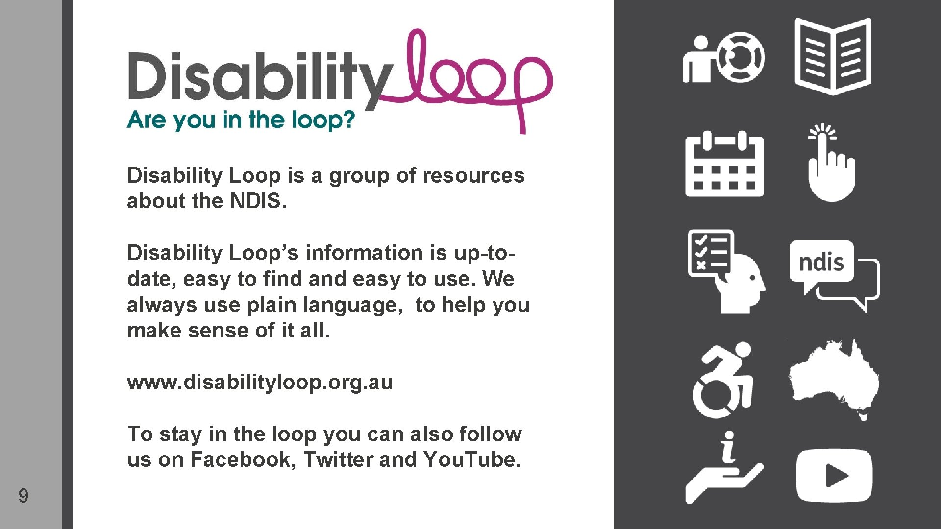 Disability Loop is a group of resources about the NDIS. Disability Loop's information is