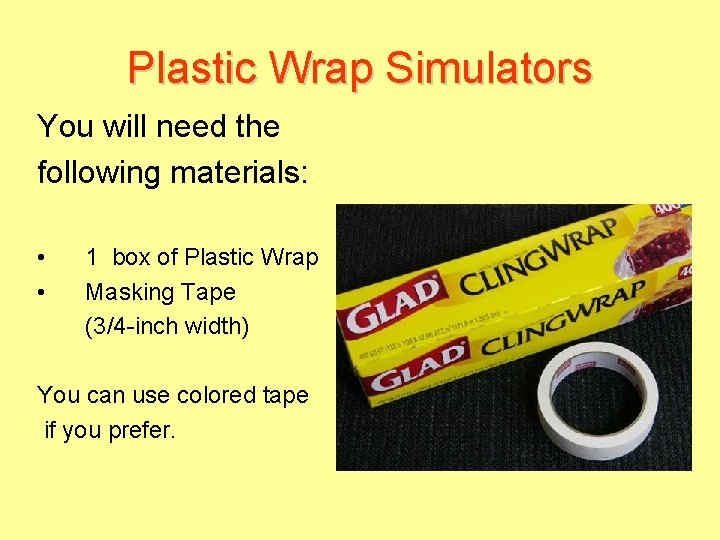 Plastic Wrap Simulators You will need the following materials: • • 1 box of