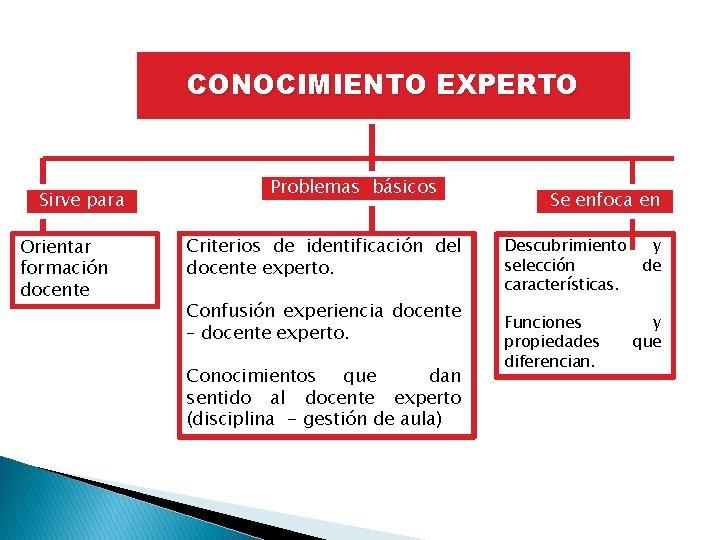 CONOCIMIENTO EXPERTO Sirve para Orientar formación docente Problemas básicos Criterios de identificación del docente