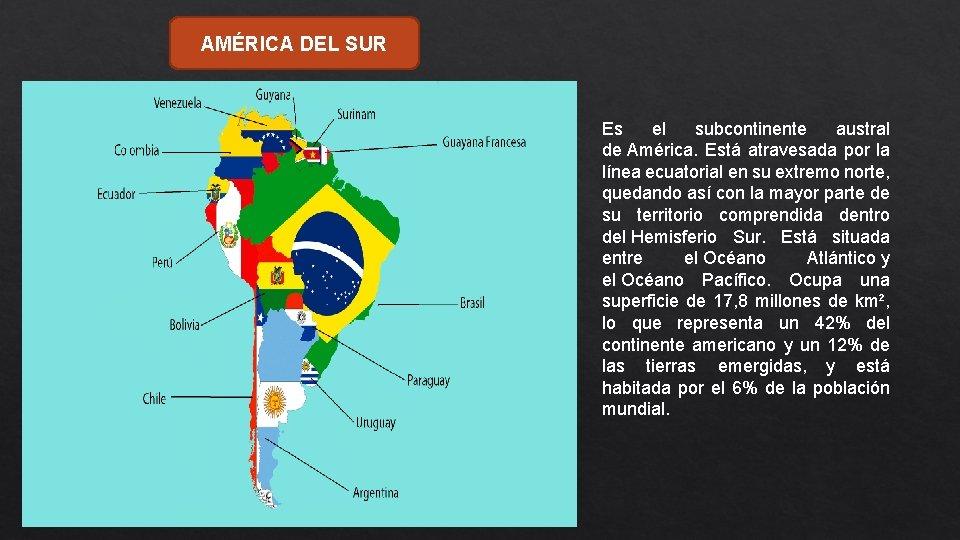 AMÉRICA DEL SUR Es el subcontinente austral de América. Está atravesada por la línea