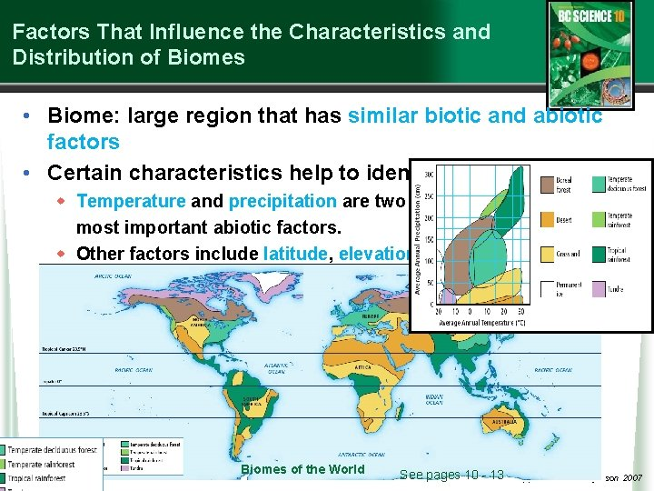 Factors That Influence the Characteristics and Distribution of Biomes • Biome: large region that
