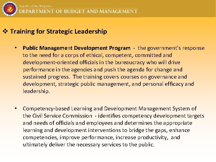 v Training for Strategic Leadership • Public Management Development Program - the government's response