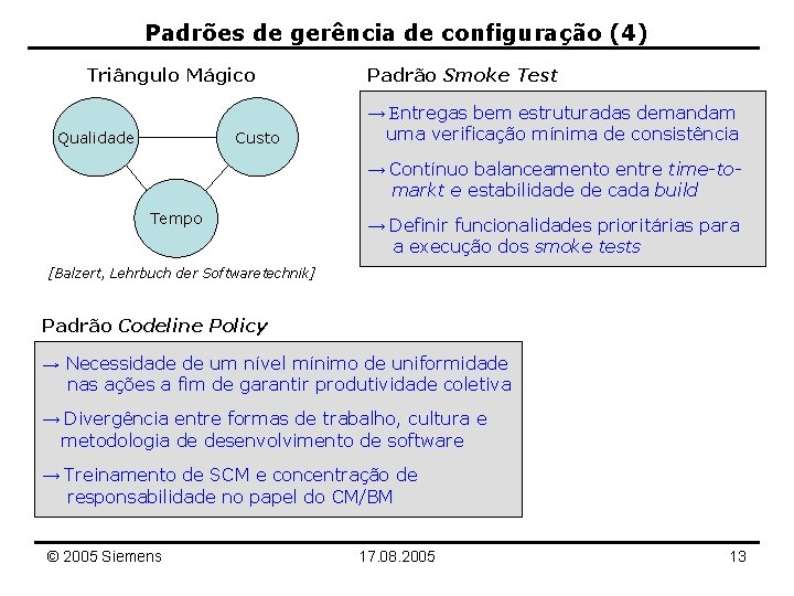 Padrões de gerência de configuração (4) Triângulo Mágico Qualidade Custo Padrão Smoke Test →