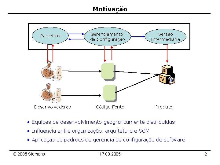 Motivação Parceiros Desenvolvedores Gerenciamento de Configuração Código Fonte Versão Intermediária Produto • Equipes de