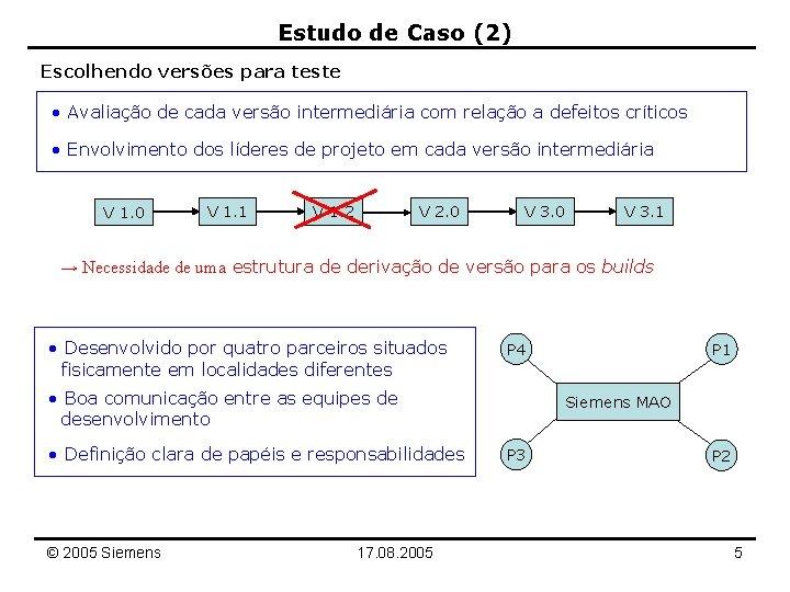 Estudo de Caso (2) Escolhendo versões para teste • Avaliação de cada versão intermediária