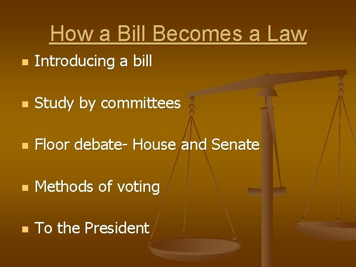 How a Bill Becomes a Law n Introducing a bill n Study by committees