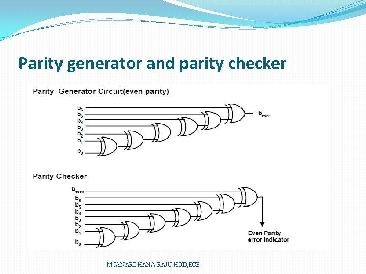 Parity generator and parity checker M. JANARDHANA RAJU HOD, ECE