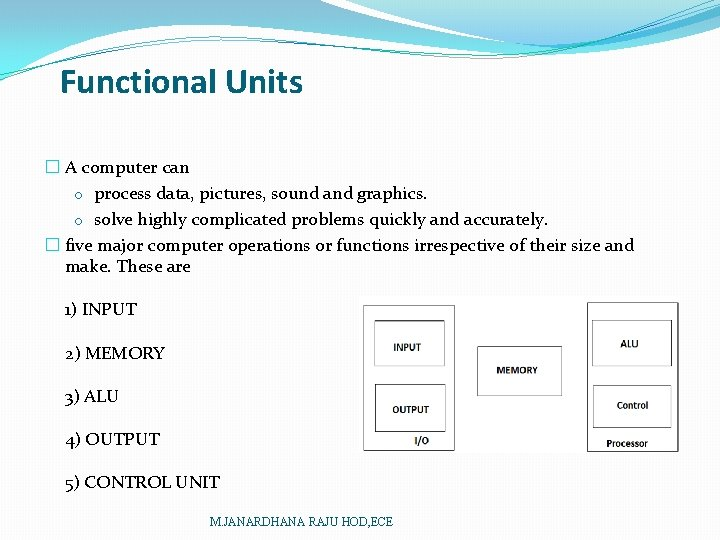 Functional Units � A computer can o process data, pictures, sound and graphics. o