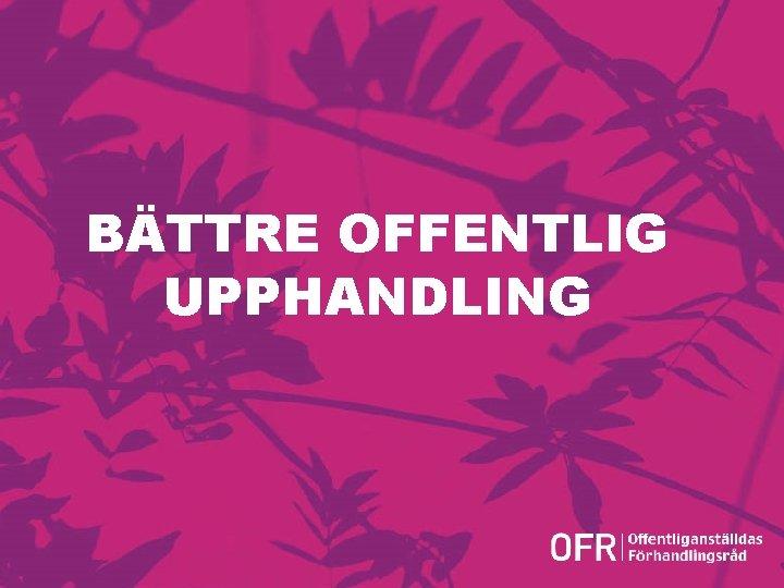 BÄTTRE OFFENTLIG UPPHANDLING Version 1. 0