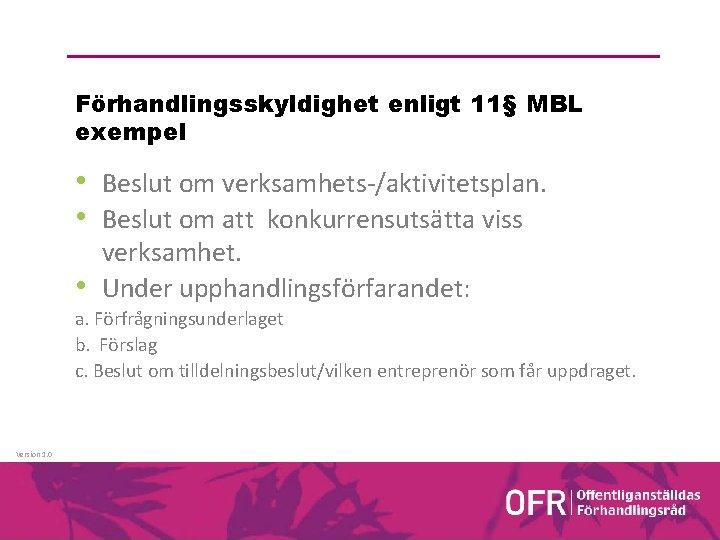 Förhandlingsskyldighet enligt 11§ MBL exempel • Beslut om verksamhets-/aktivitetsplan. • Beslut om att konkurrensutsätta