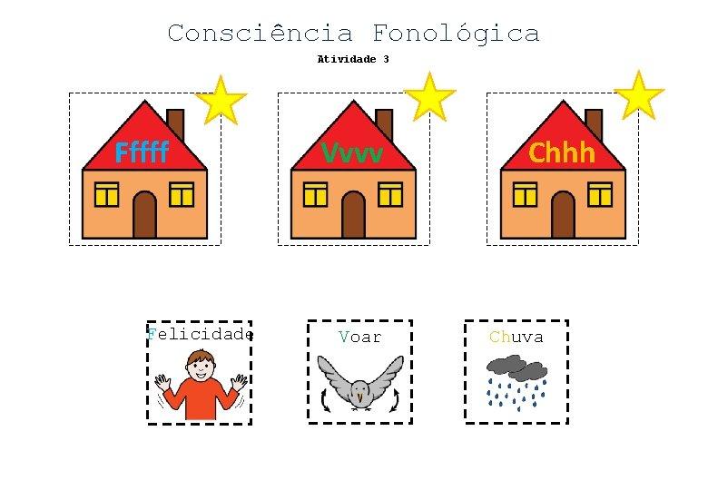 Consciência Fonológica Atividade 3 Fffff Felicidade Vvvv Voar Chhh Chuva