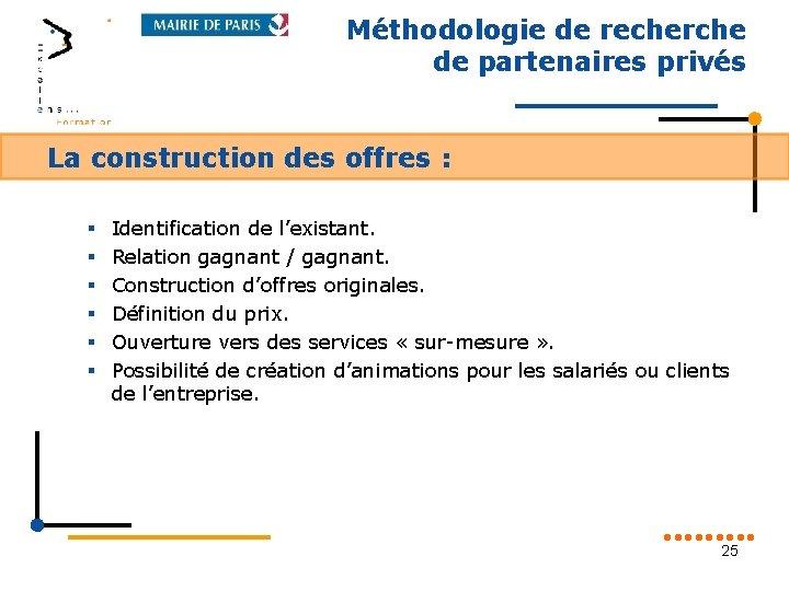 Méthodologie de recherche de partenaires privés La construction des offres : § § §
