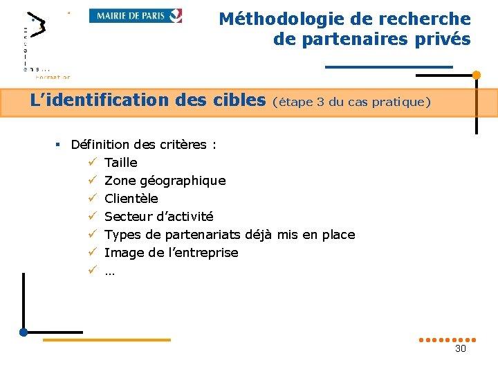 Méthodologie de recherche de partenaires privés L'identification des cibles (étape 3 du cas pratique)