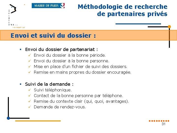 Méthodologie de recherche de partenaires privés Envoi et suivi du dossier : § Envoi