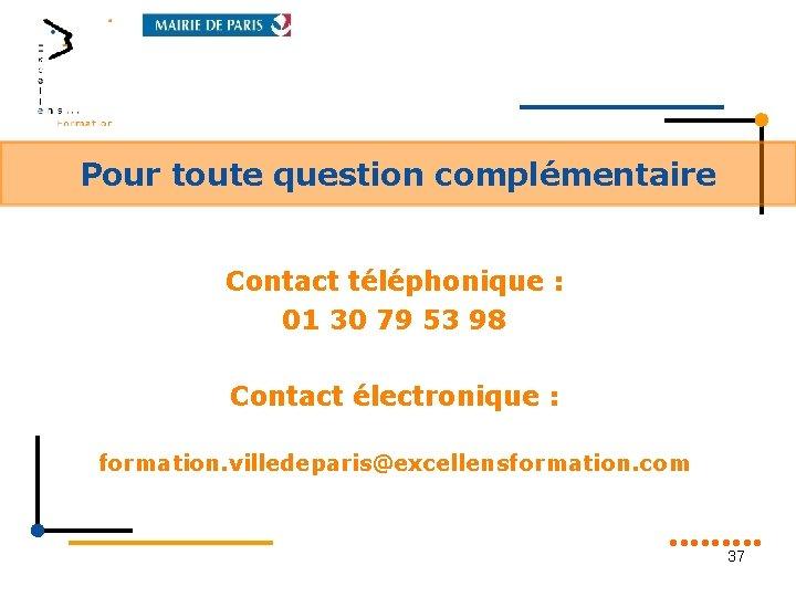 Pour toute question complémentaire Contact téléphonique : 01 30 79 53 98 Contact électronique