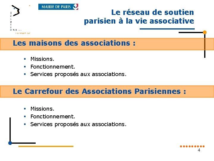 Le réseau de soutien parisien à la vie associative Les maisons des associations :