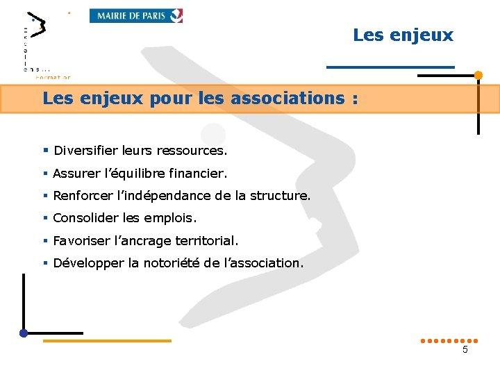Les enjeux pour les associations : § Diversifier leurs ressources. § Assurer l'équilibre financier.