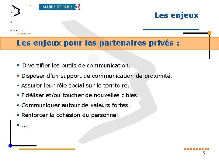 Les enjeux pour les partenaires privés : § Diversifier les outils de communication. §