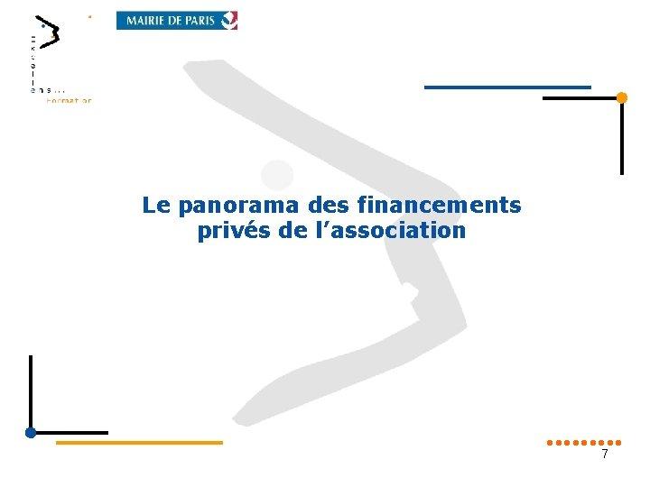 Le panorama des financements privés de l'association 7