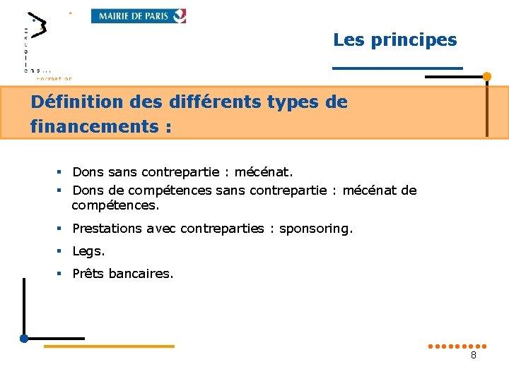 Les principes Définition des différents types de financements : § Dons sans contrepartie :