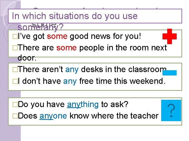 Grammar: Any / every / no / In which situations do you use some/any?
