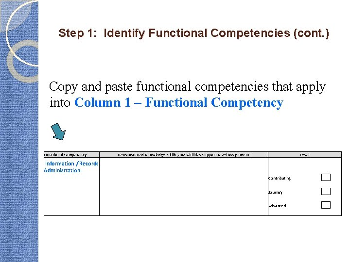 Step 1: Identify Functional Competencies (cont. ) Copy and paste functional competencies that apply