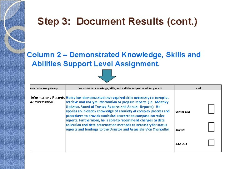 Step 3: Document Results (cont. ) Column 2 – Demonstrated Knowledge, Skills and Abilities