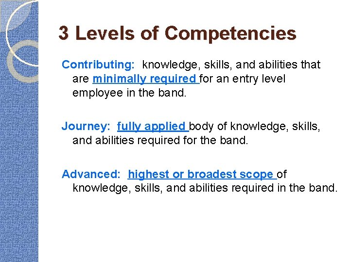 3 Levels of Competencies Contributing: knowledge, skills, and abilities that are minimally required for