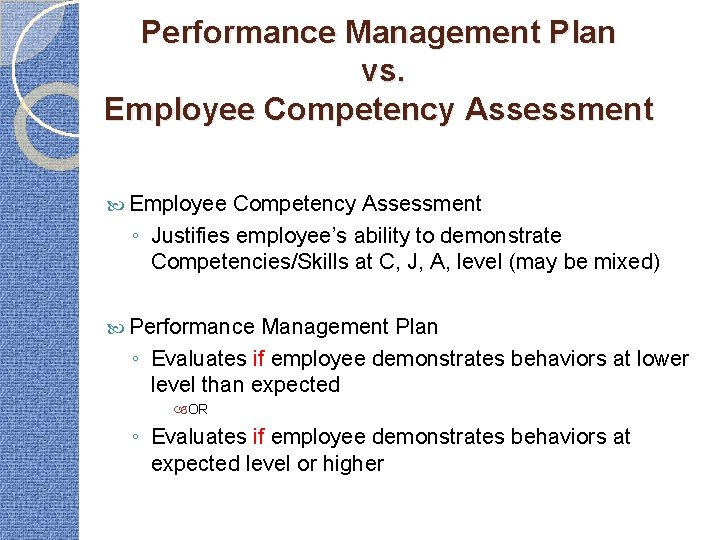 Performance Management Plan vs. Employee Competency Assessment ◦ Justifies employee's ability to demonstrate Competencies/Skills