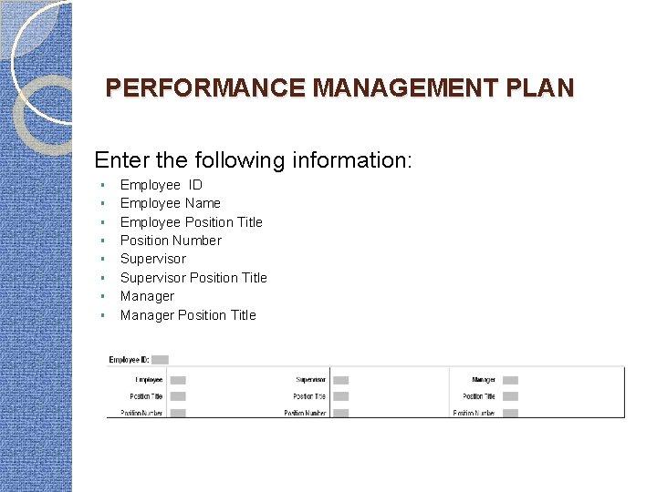 PERFORMANCE MANAGEMENT PLAN Enter the following information: § § § § Employee ID Employee