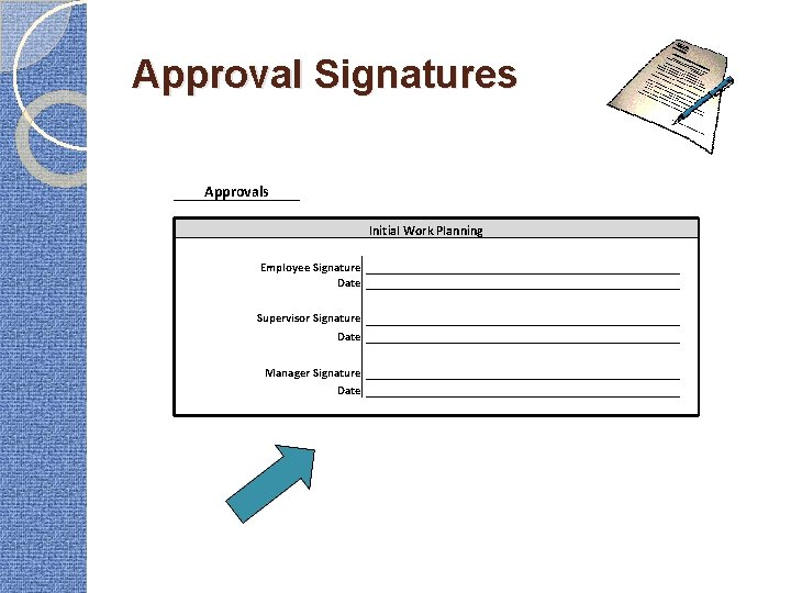 Approval Signatures Approvals Initial Work Planning Employee Signature Date Supervisor Signature Date Manager Signature