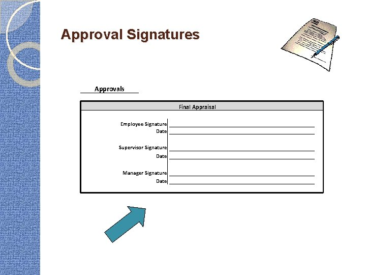 Approval Signatures Approvals Final Appraisal Employee Signature Date Supervisor Signature Date Manager Signature Date