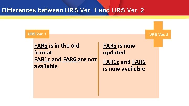 Differences between URS Ver. 1 and URS Ver. 2 URS Ver. 1 FAR 5