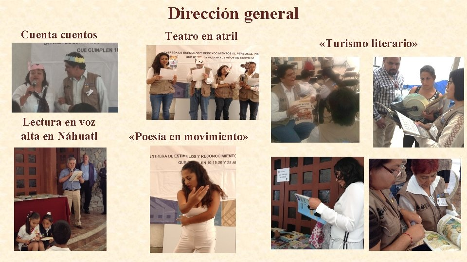 Dirección general Cuenta cuentos Lectura en voz alta en Náhuatl Teatro en atril «Poesía