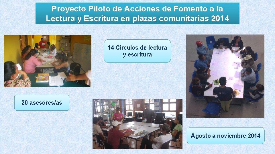 Proyecto Piloto de Acciones de Fomento a la Lectura y Escritura en plazas comunitarias