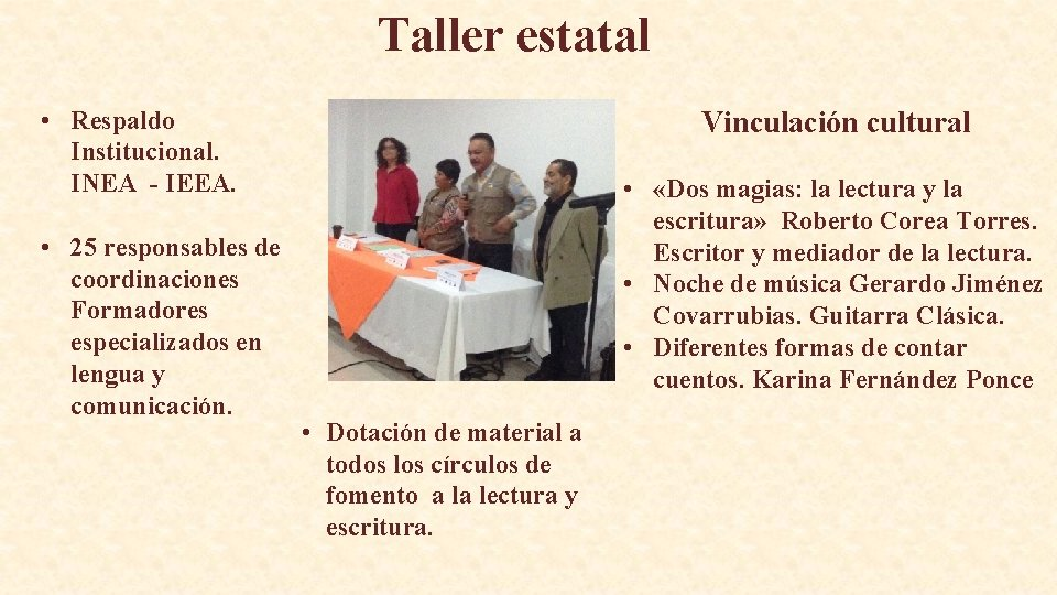 Taller estatal • Respaldo Institucional. INEA - IEEA. • 25 responsables de coordinaciones Formadores