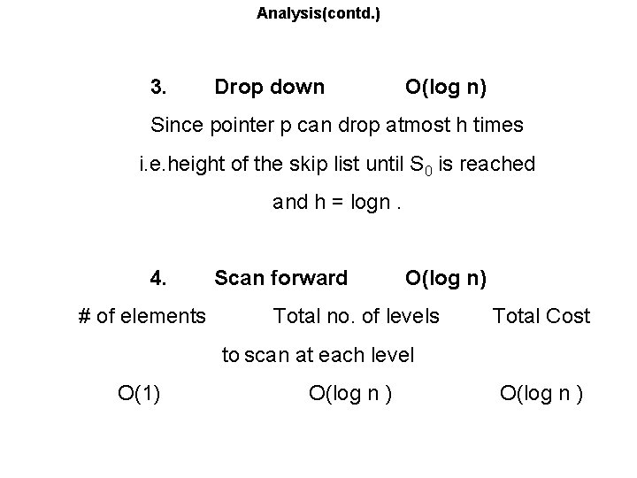 Analysis(contd. ) 3. Drop down O(log n) Since pointer p can drop atmost h