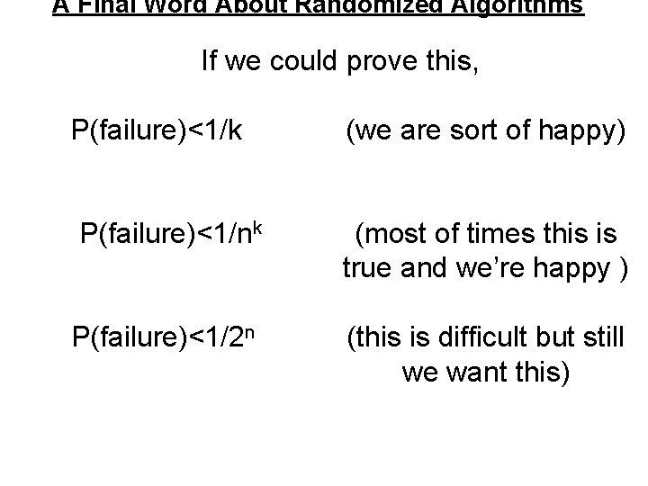 A Final Word About Randomized Algorithms If we could prove this, P(failure)<1/k (we are