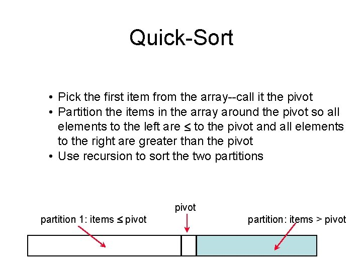 Quick-Sort • Pick the first item from the array--call it the pivot • Partition