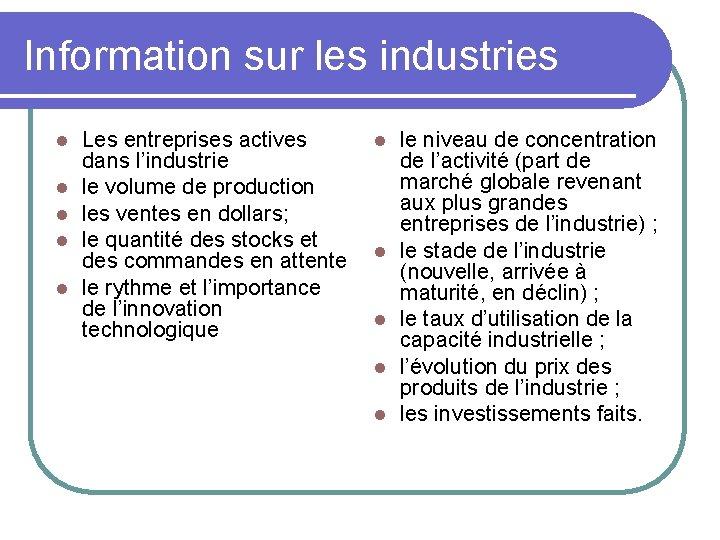 Information sur les industries l l l Les entreprises actives dans l'industrie le volume