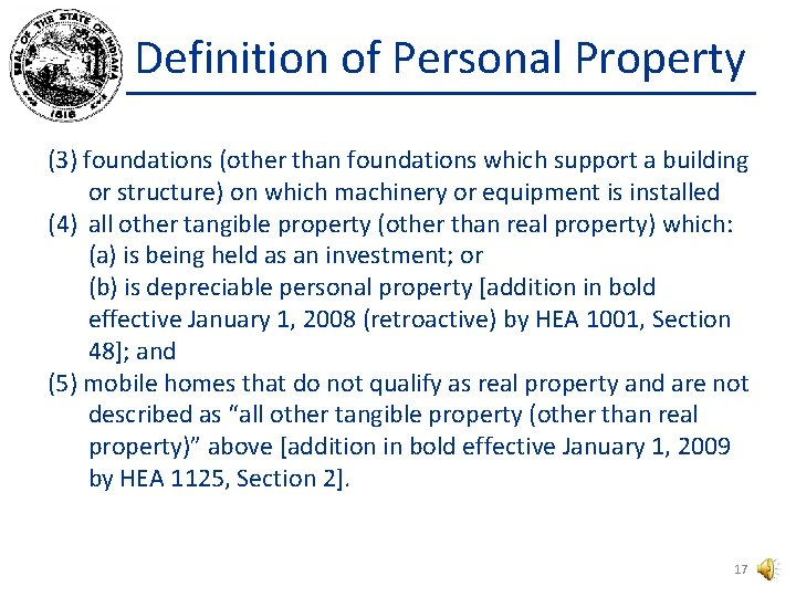 Definition of Personal Property (3) foundations (other than foundations which support a building or