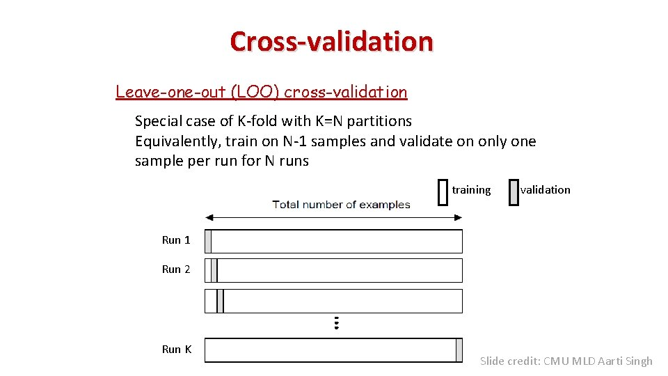 Cross-validation Leave-one-out (LOO) cross-validation Special case of K-fold with K=N partitions Equivalently, train on