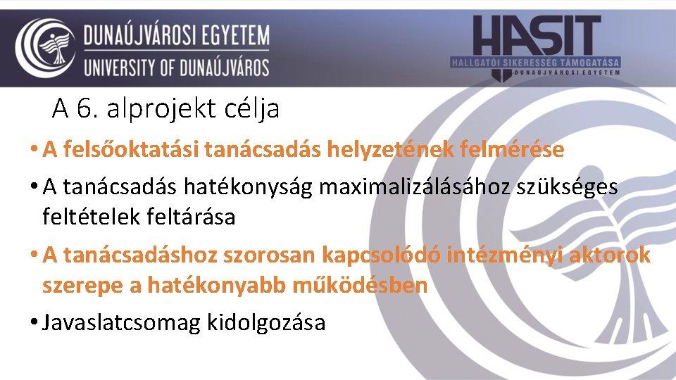 A 6. alprojekt célja • A felsőoktatási tanácsadás helyzetének felmérése • A tanácsadás hatékonyság