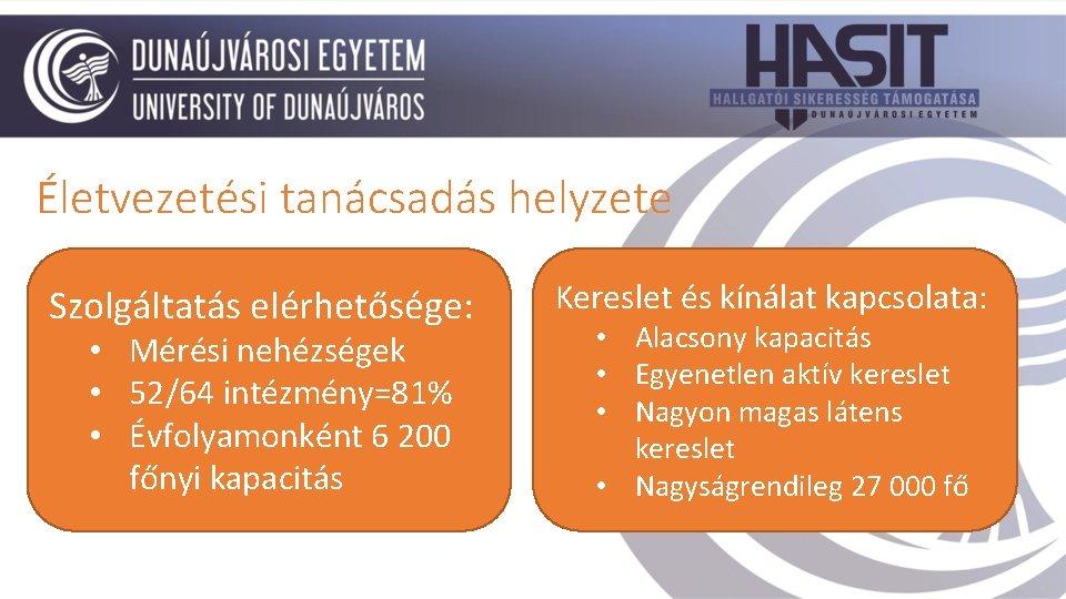 Életvezetési tanácsadás helyzete Szolgáltatás elérhetősége: • Mérési nehézségek • 52/64 intézmény=81% • Évfolyamonként 6