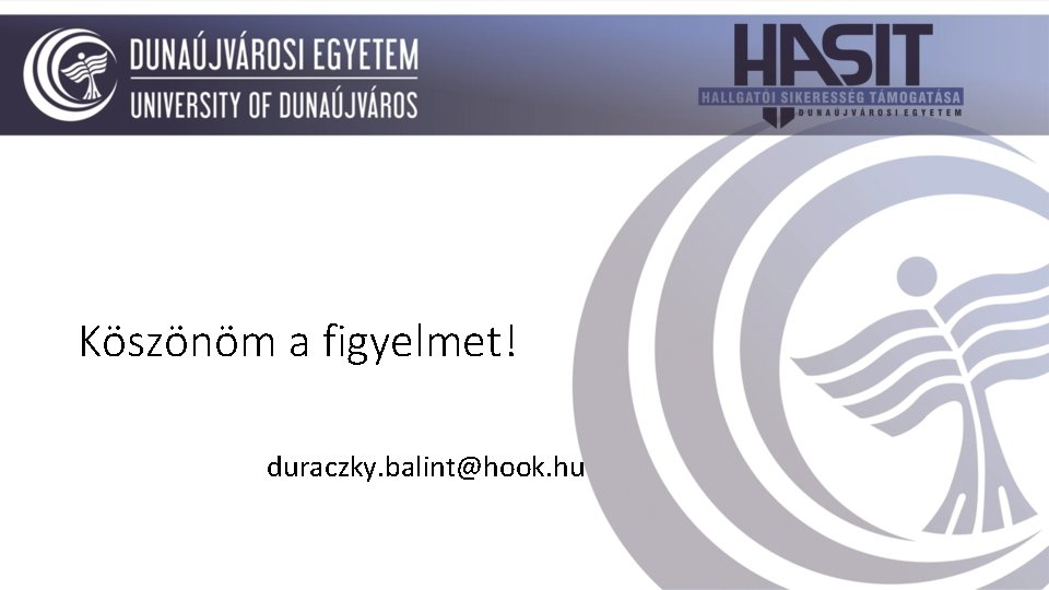 Köszönöm a figyelmet! duraczky. balint@hook. hu