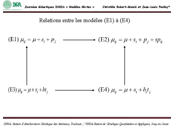 Journées didactiques INRIA « Modèles Mixtes » Christèle Robert-Granié et Jean-Louis Foulley* Relations entre