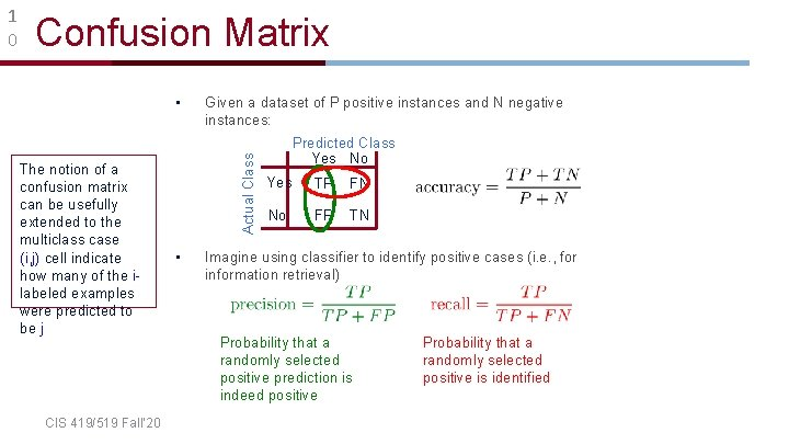 Confusion Matrix • The notion of a confusion matrix can be usefully extended to