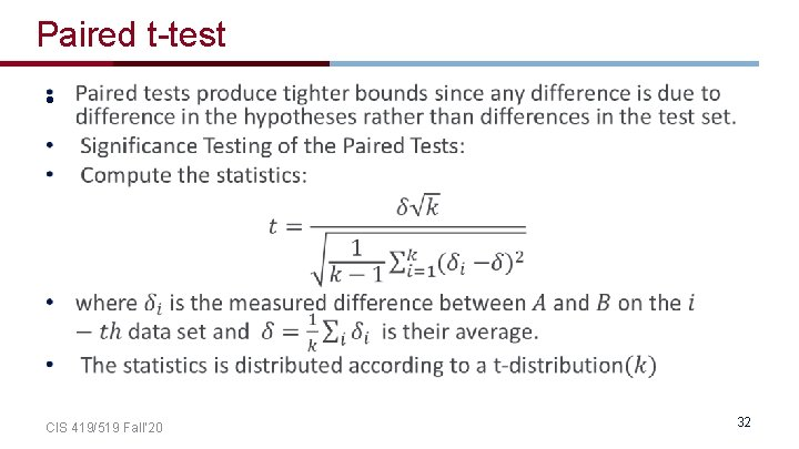 Paired t-test • CIS 419/519 Fall' 20 32