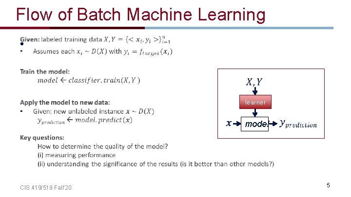 Flow of Batch Machine Learning • learner CIS 419/519 Fall' 20 model 5